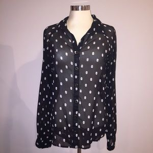 Black semi sheer button down blouse with skulls